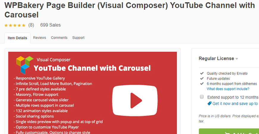 Visual Composer YouTube Cannel with Carousel Premium Plugin