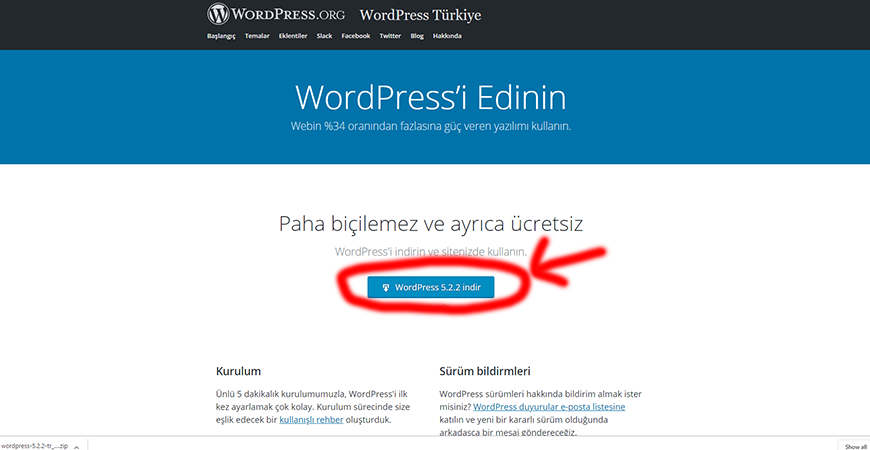 WordPress İndir!