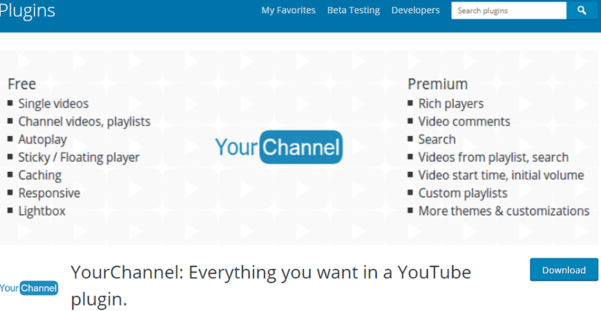 YourChannel YouTube Channel Free WordPress Plugin