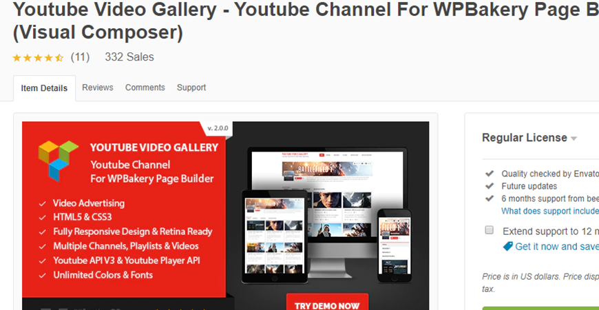 Youtube Video Gallery for Visual Composer Premium WordPress Plugin